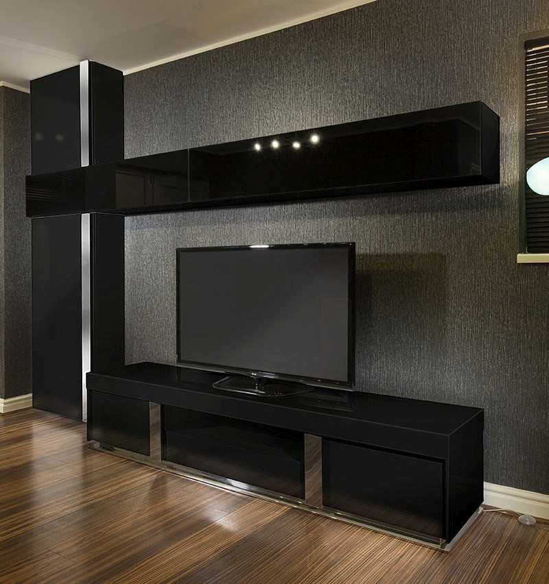 Large Tv Stand Wall Mounted Storage Cabinet Black Glass