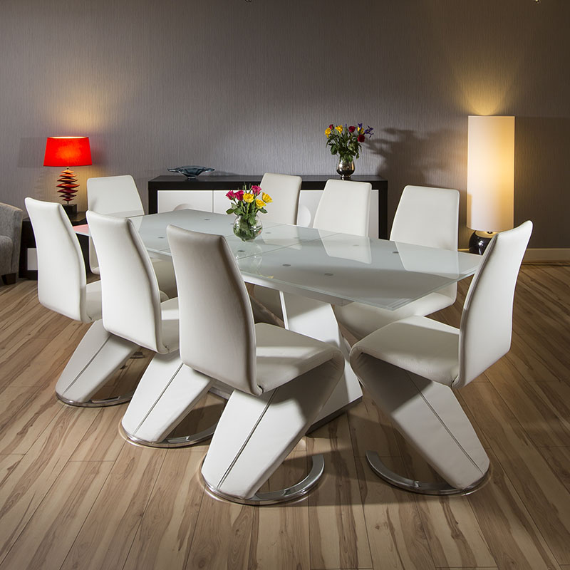 Modern White Dining Set Glass Top Extending Table 8  : HT33338X6736WHTLR1 from www.ebay.co.uk size 800 x 800 jpeg 127kB