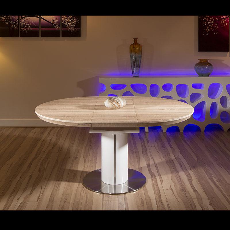 modern dining table oak veneer round oval extending 1050 1350mm 2088