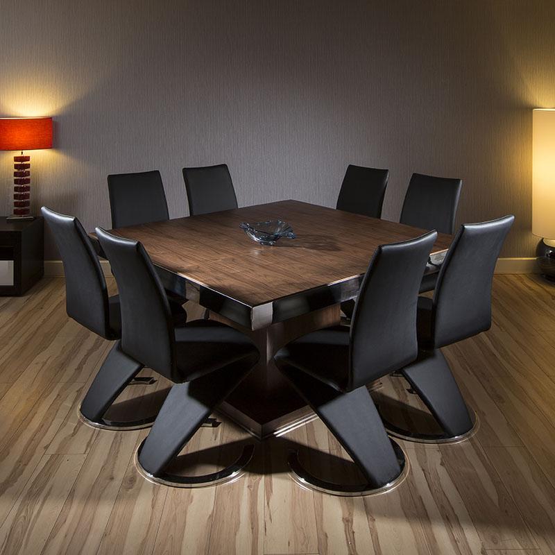 Quatropi Large Square Dining Set Walnut Table 8 High Back Black Chairs EBay
