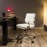 View Item Modern Luxury Office Chair Ivory Leather Executive Ergonomic Quatropi