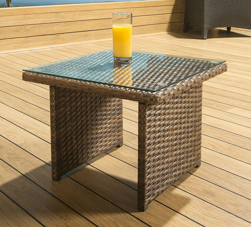 Luxury Outdoor Garden Square Side End Coffee Table Brown Rattan Glass Ebay