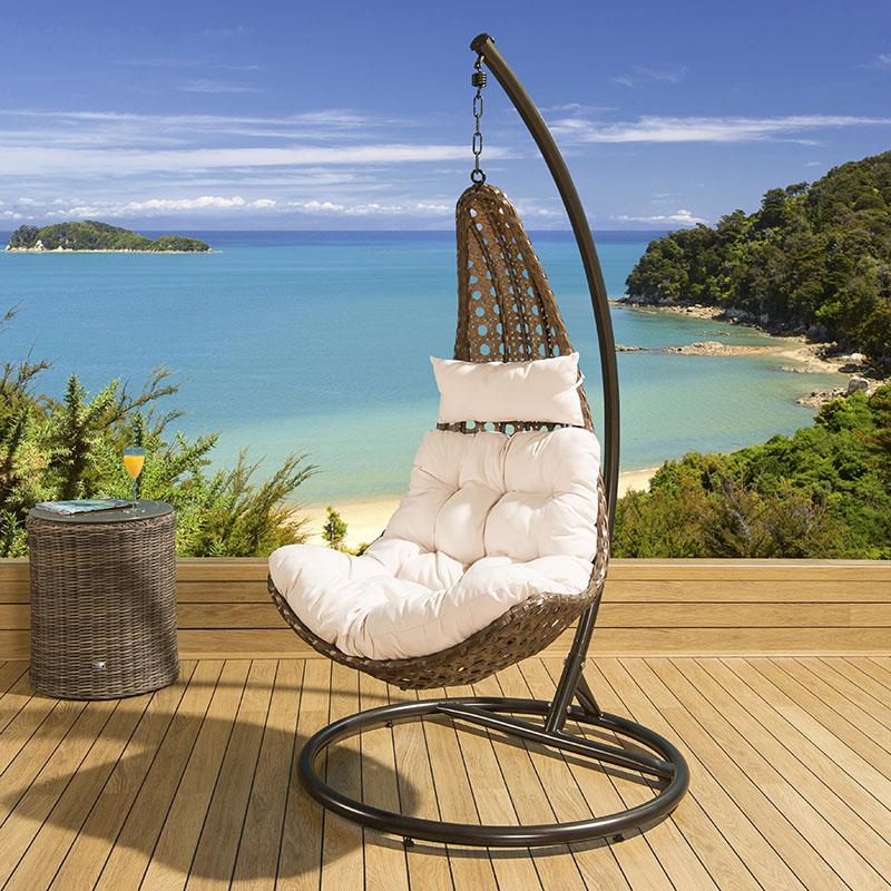Outdoor Modern Garden Hanging Chair Brown Rattan Cream Cushions New