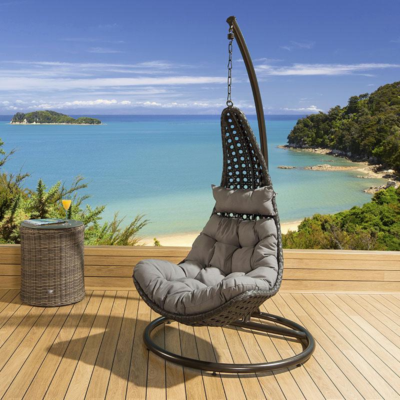 Outdoor Modern Garden Outdoor Hanging Chair Black Rattan Grey Cushions