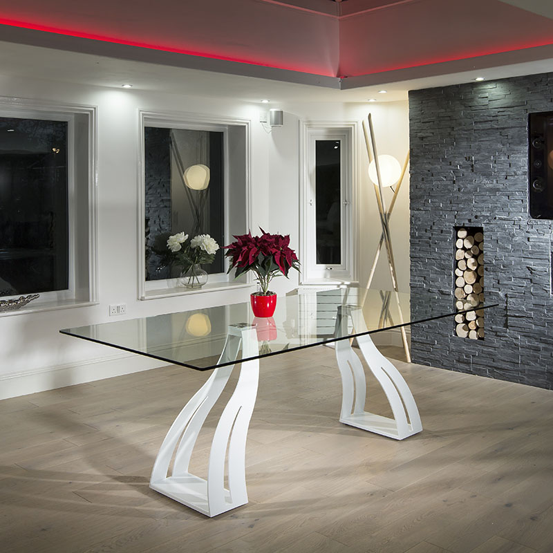 10 seater clear glass white steel legs dining table for 10 seater glass dining table