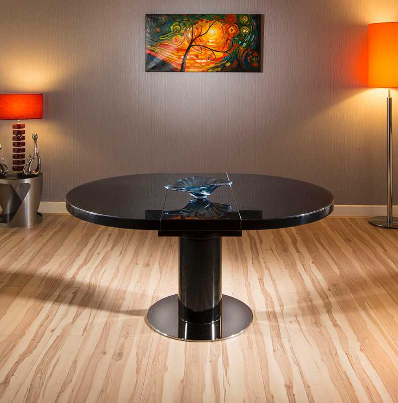 Modern Dining Table Black GlassGloss RoundOval Extending  : HT2088BLK12LR1 from ebay.co.uk size 800 x 811 jpeg 52kB