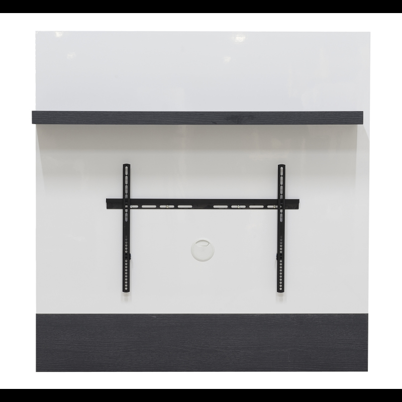 wall mounted tv unit with bracket and shelf grey white. Black Bedroom Furniture Sets. Home Design Ideas