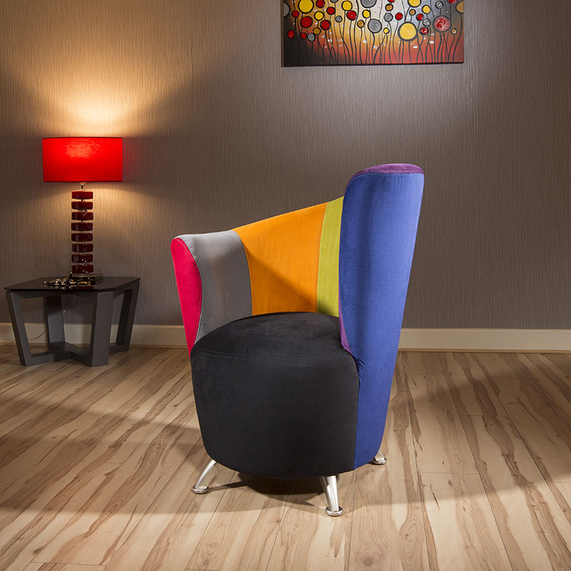 Modern Harlequin Curved Multi Coloured Soft Fabric