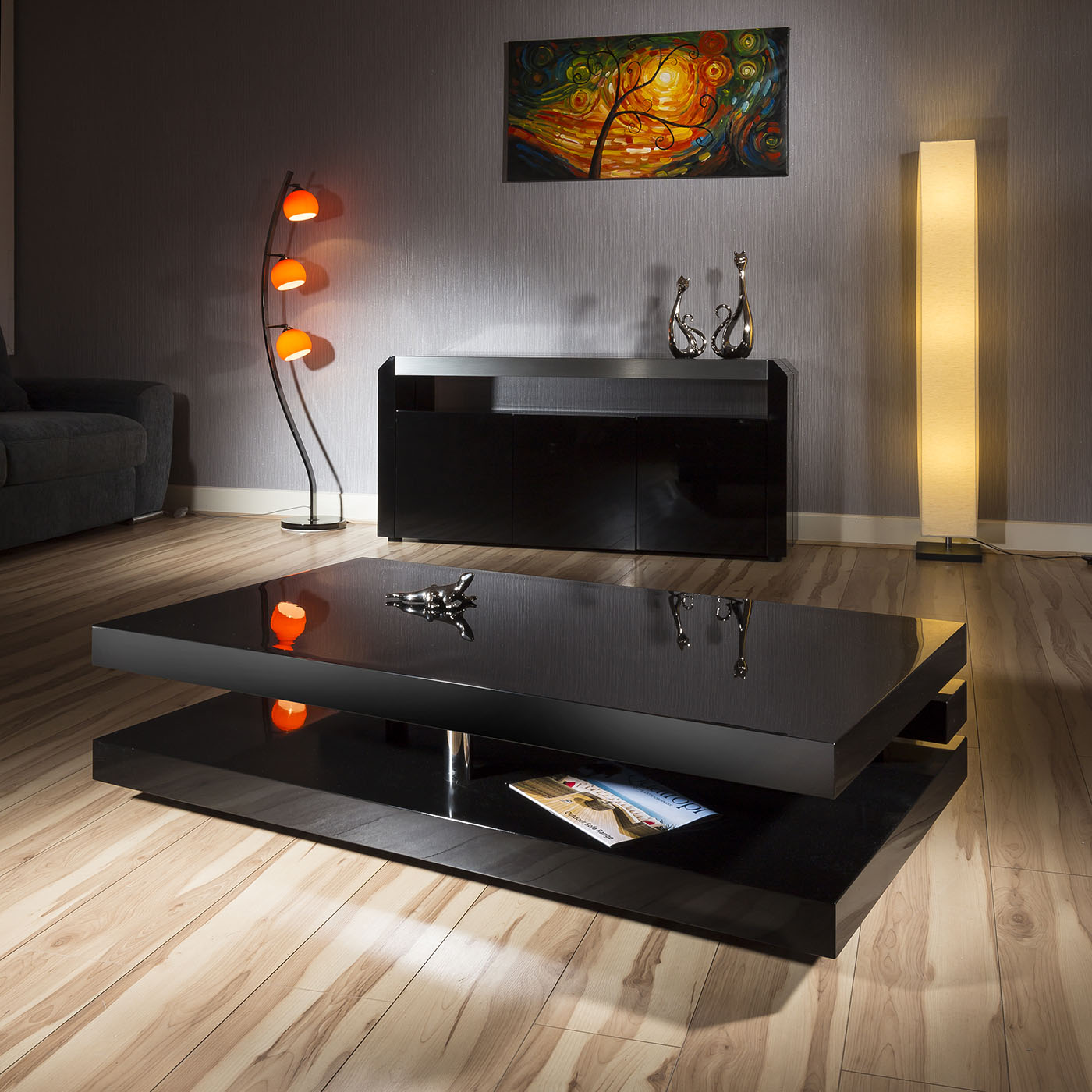 Large Modern Black Coffee Table: Large Designer Rectangular Coffee Table Black Gloss Modern