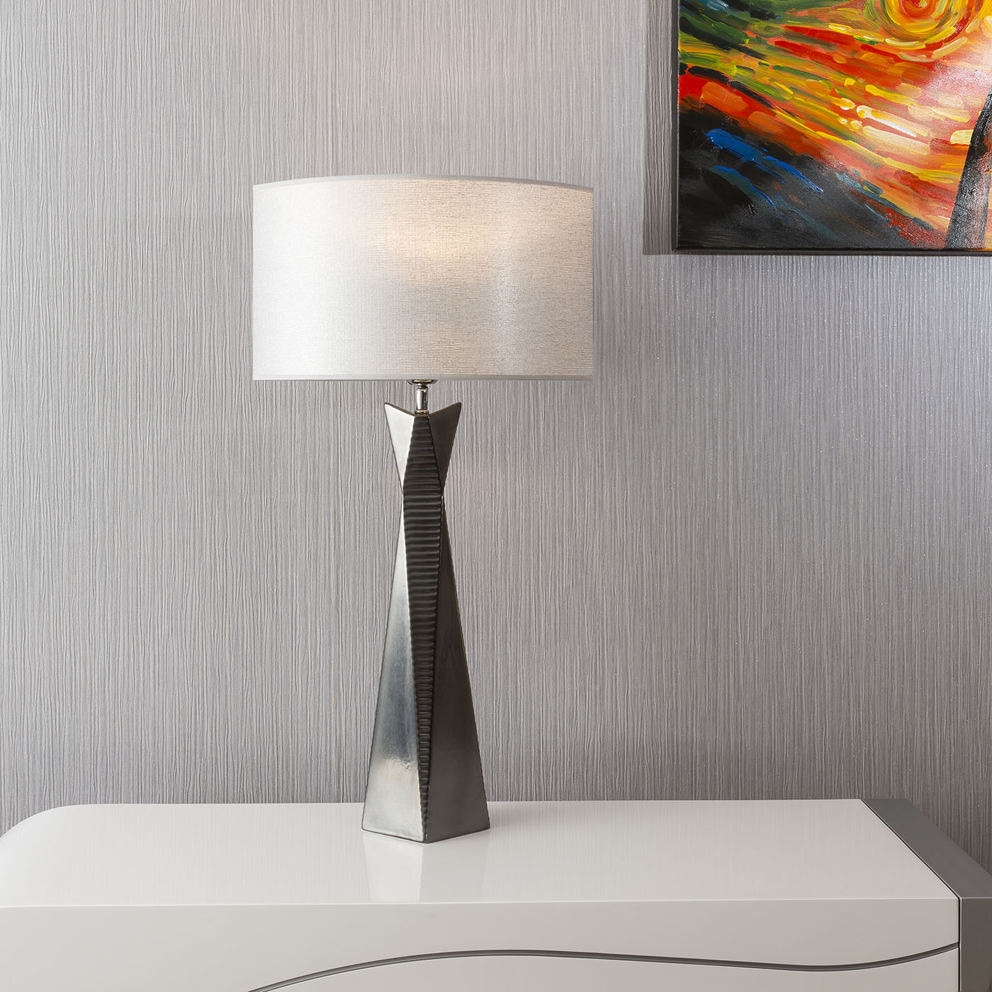 Envy Lighting High End Tall Table Lamp Ceramic Silver Base