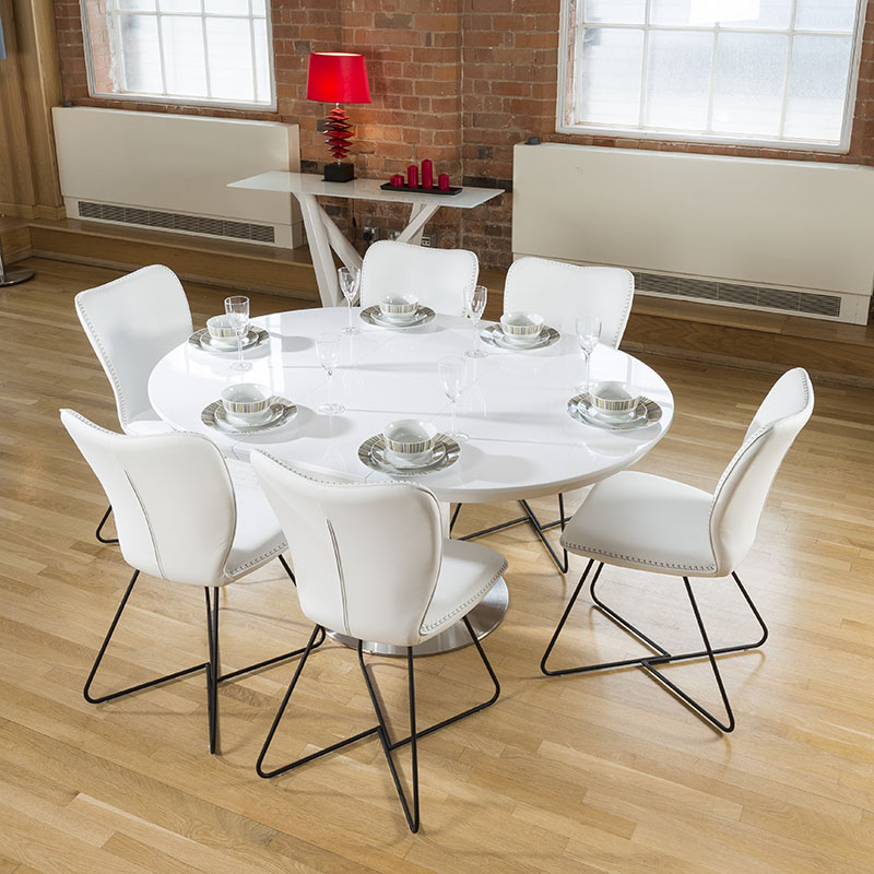 Stunning Dining Set White Gloss Round Oval Extending Table  : HT208812WHT6XJD4114LR2 from www.ebay.com size 800 x 800 jpeg 158kB
