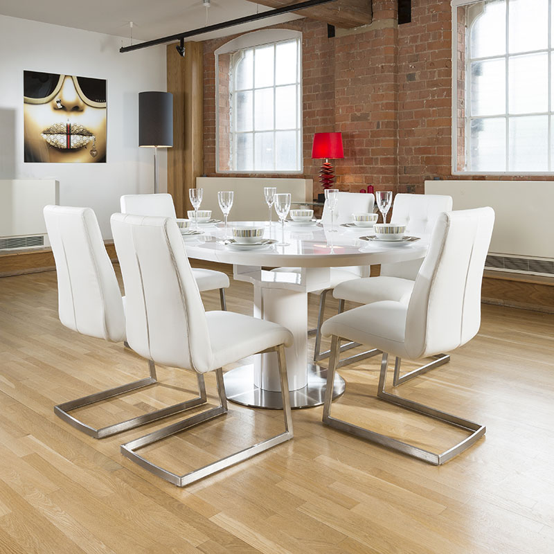 Dining Set White Gloss Round Oval Extending Table 6