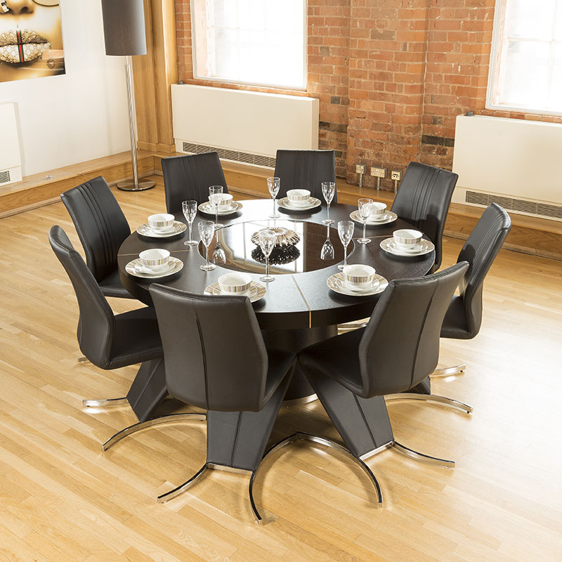 Modern Large Round Black Oak Dining Table 8 High Back Z Shape Chairs