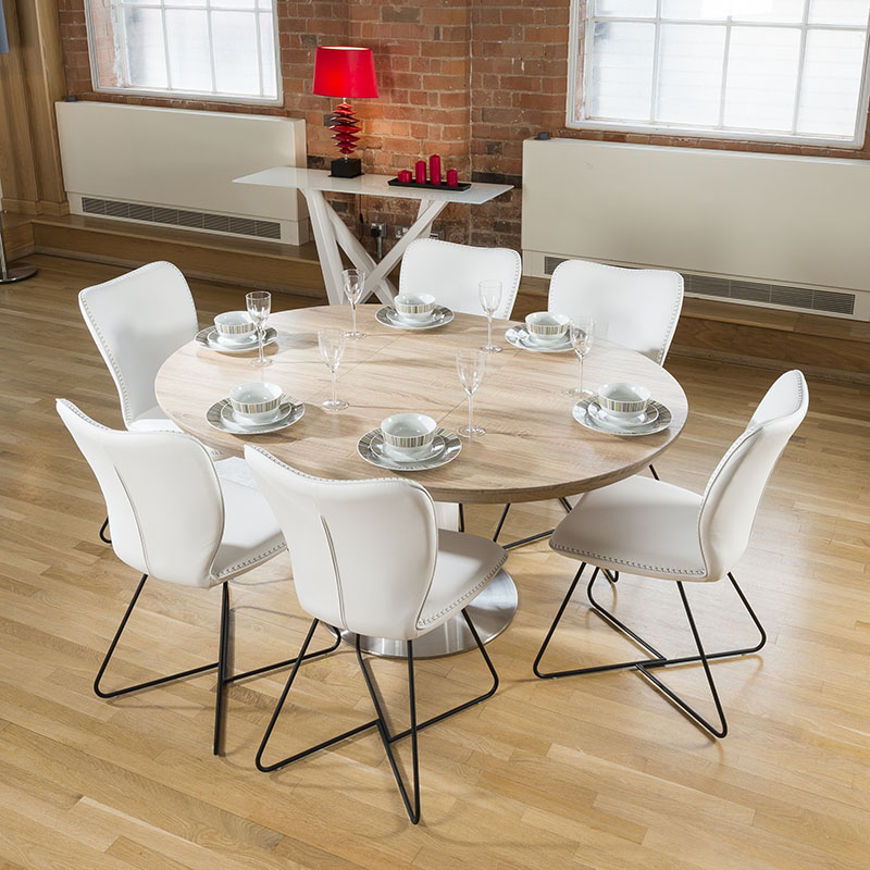 modern dining set round oval extending table 6 high white chairs 4114