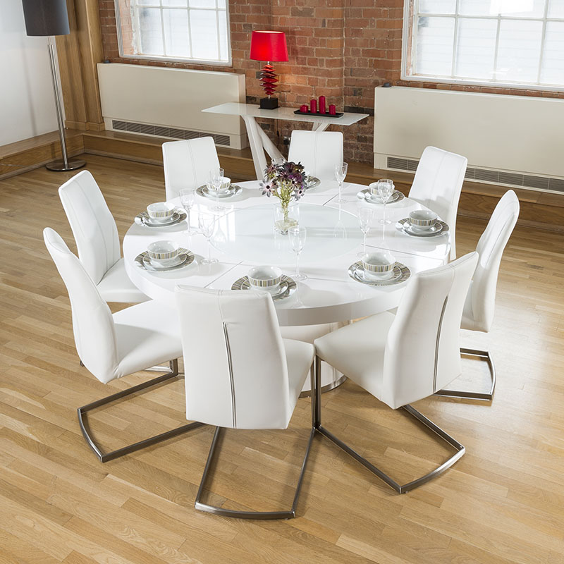 Large Round White Gloss Dining Table Lazy Susan 8 White  : 850T16HB528XJD5360WHTLR2 from www.ebay.co.uk size 800 x 800 jpeg 152kB