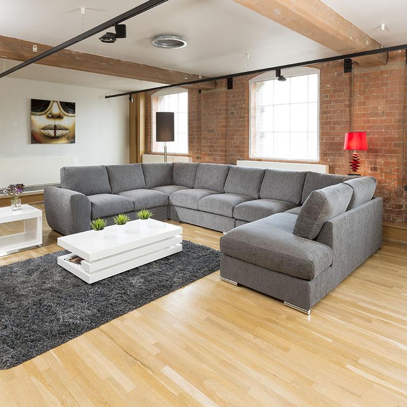 Large U Sectional Sofas: Extra Large Sofa Set Settee Corner Group U / L Shape Grey