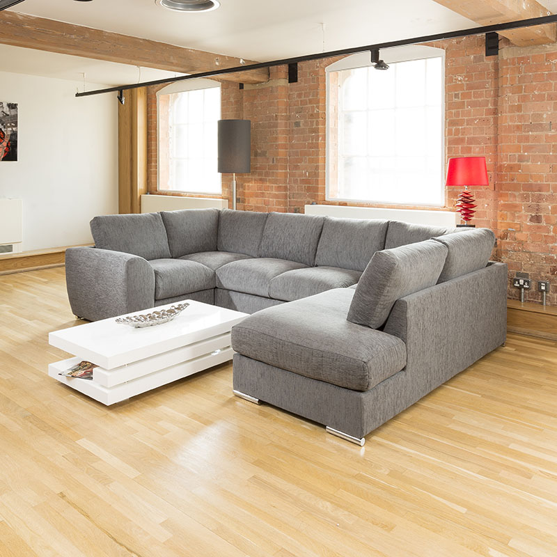 Large U Sectional Sofas: Quatropi Large Sofa Set Settee Corner Group U Shape Grey 3