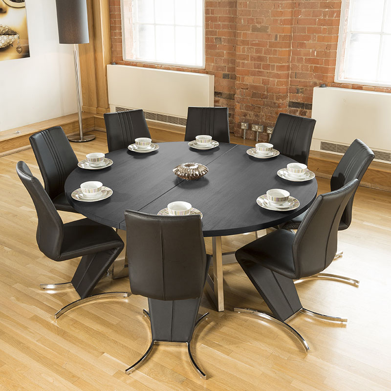 large round black oak dining table 8 high back z shape chairs