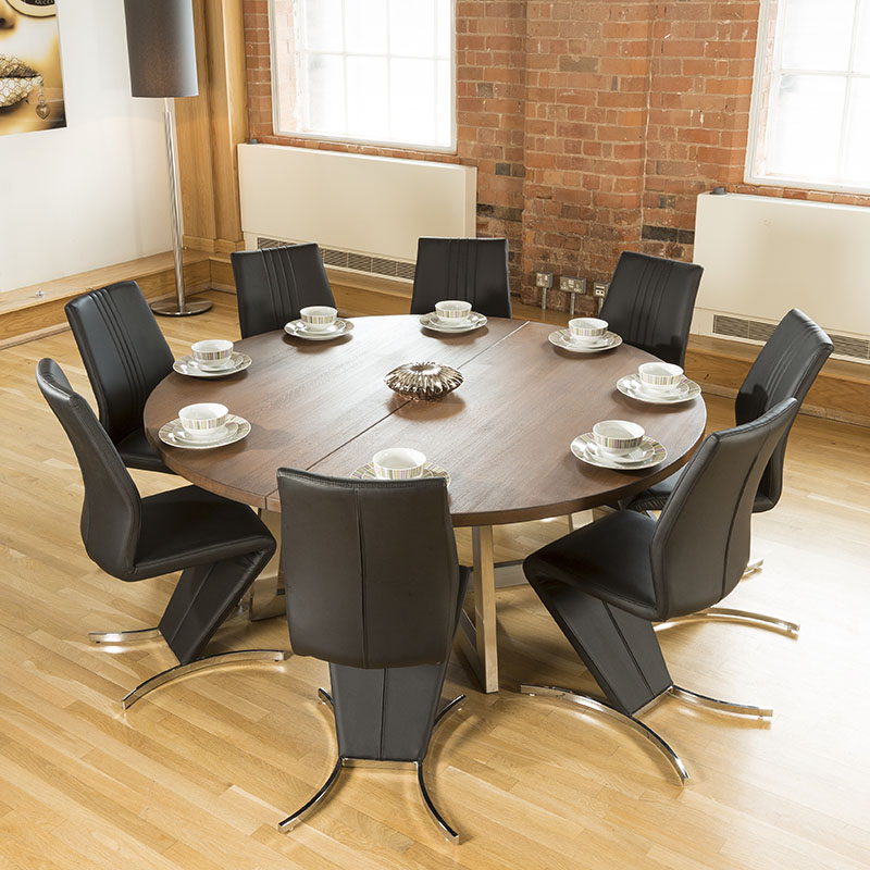 Large Round Dark Brown Oak Dining Table 8 High Back Chairs EBay