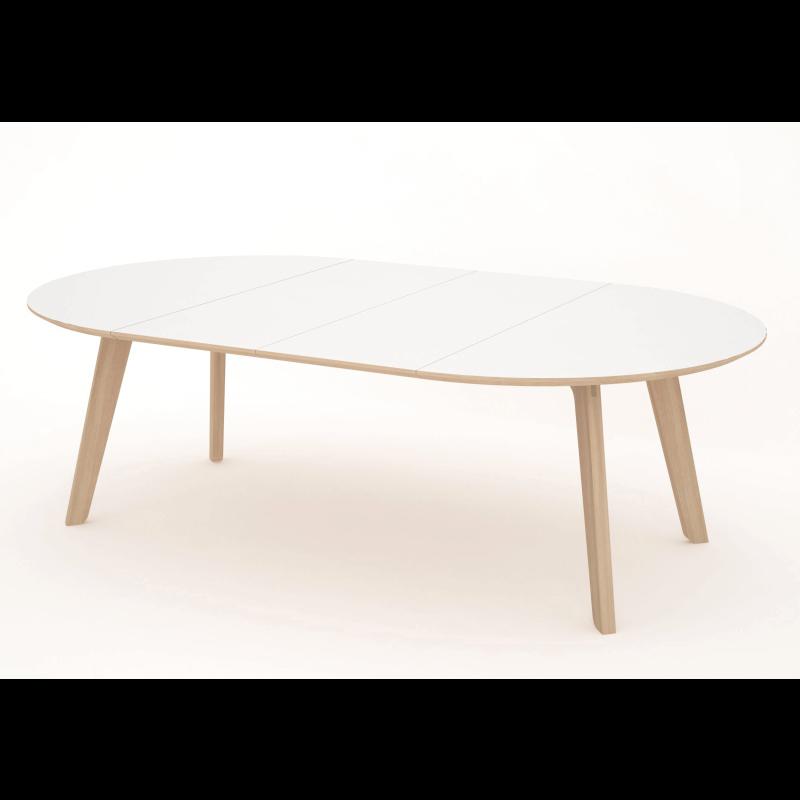 Huge 1400x2400 Extending Oval Boardroom Dining Table Oak Leg White Top