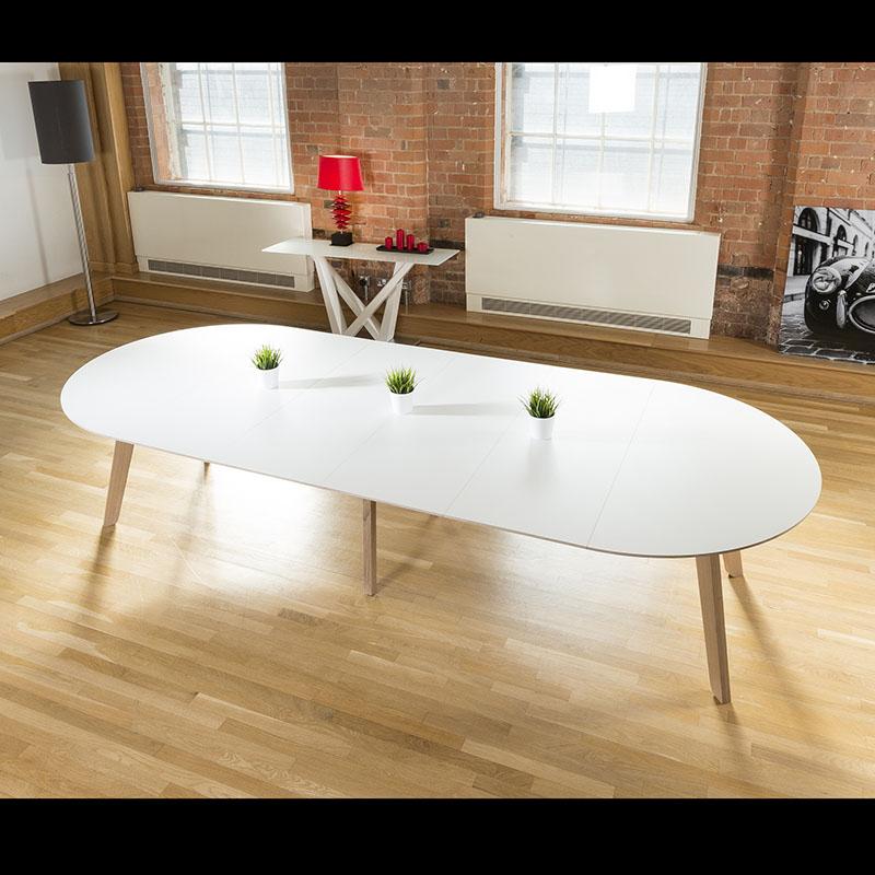 Huge 1400x3400 Extending Oval Boardroom Dining Table Oak Leg White Top EBay