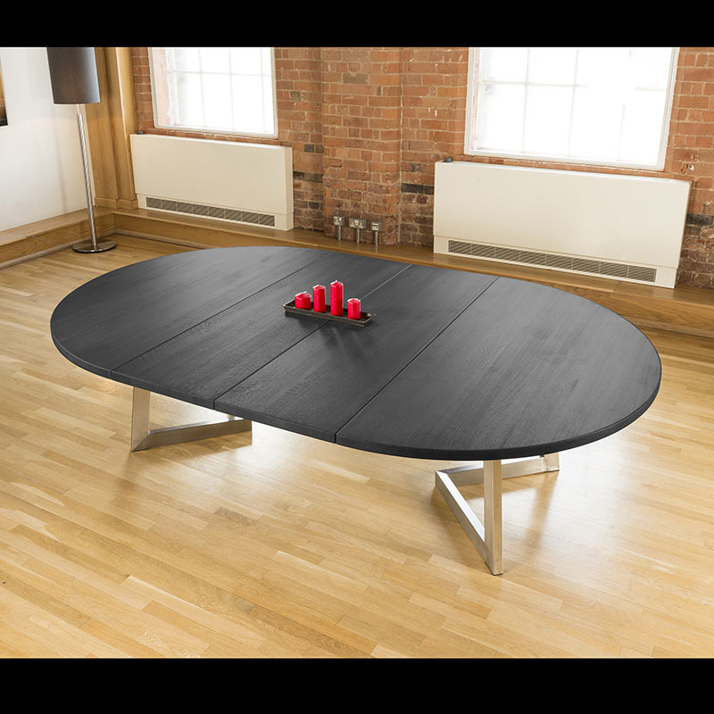 massive 1 8 extending round oval dining table oak black stock