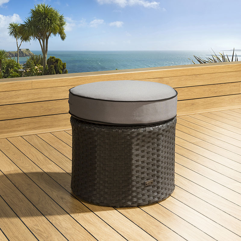 Round Wicker Coffee Table With Stools: Outdoor Garden Round Rattan Black/Grey Foot Stool Ottoman