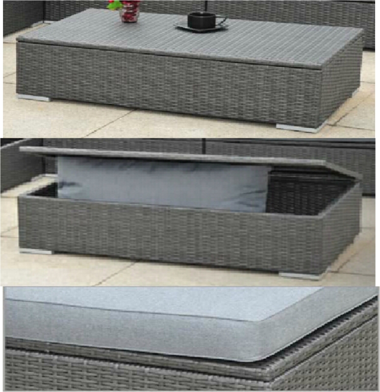 Outdoor Wicker Coffee Table With Storage: Luxury Outdoor Garden Rattan Coffee Table / Storage