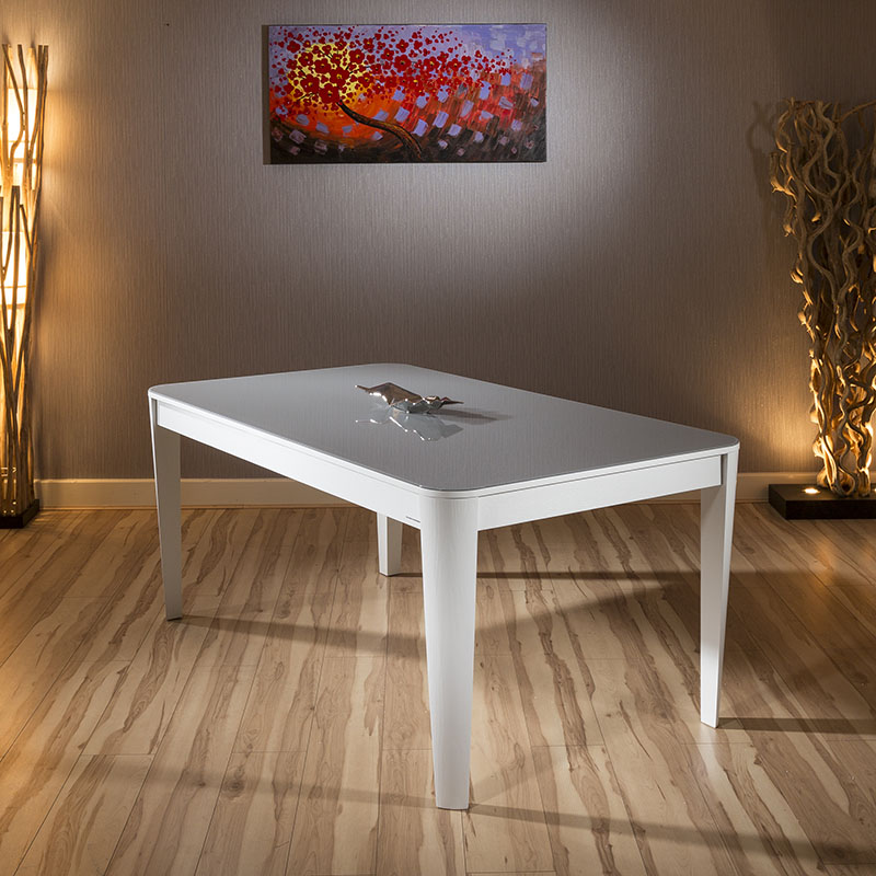 Modern luxury extending glass top dining table white gloss for Luxury glass dining tables