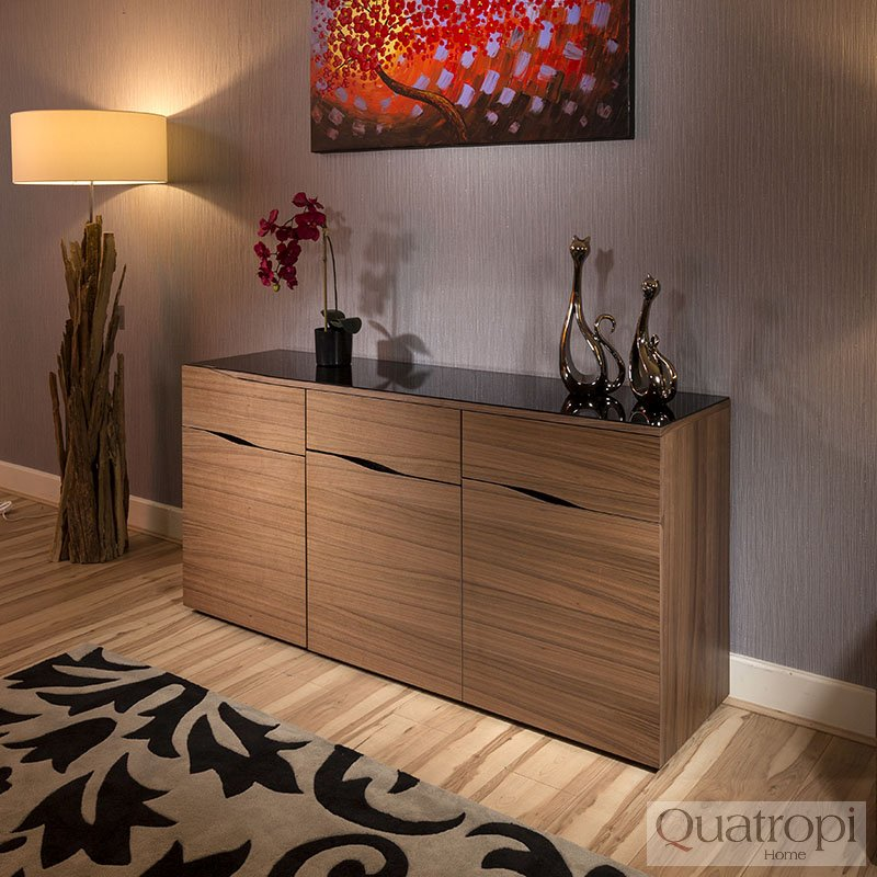 Quatropi Contemporary Sideboard / Buffet Walnut / Black