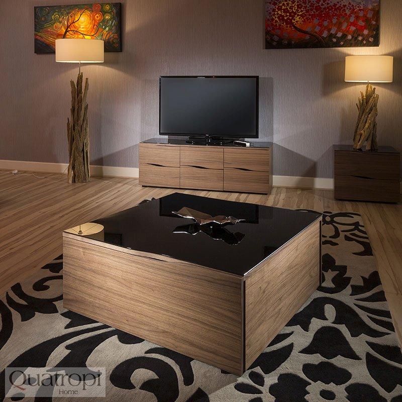Quatropi Modern Large Square Walnut Black Glass Topped Coffee Table Ebay