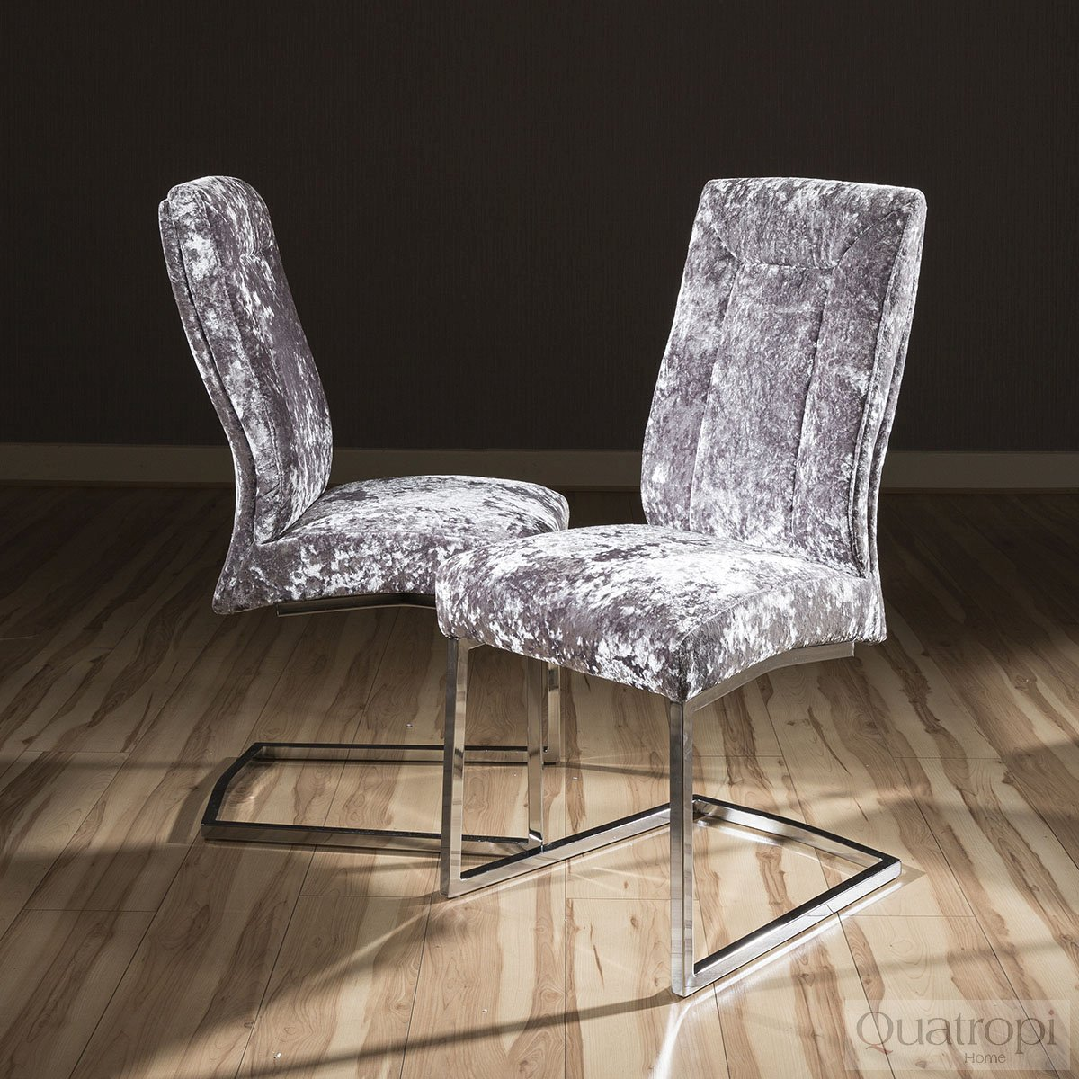 Set of 2 Large Super Comfy Modern Dining Chairs Silver  : JD5110SILVERCRUSHEDVELVETDININGCHAIRMR2 from www.ebay.co.uk size 1200 x 1200 jpeg 287kB