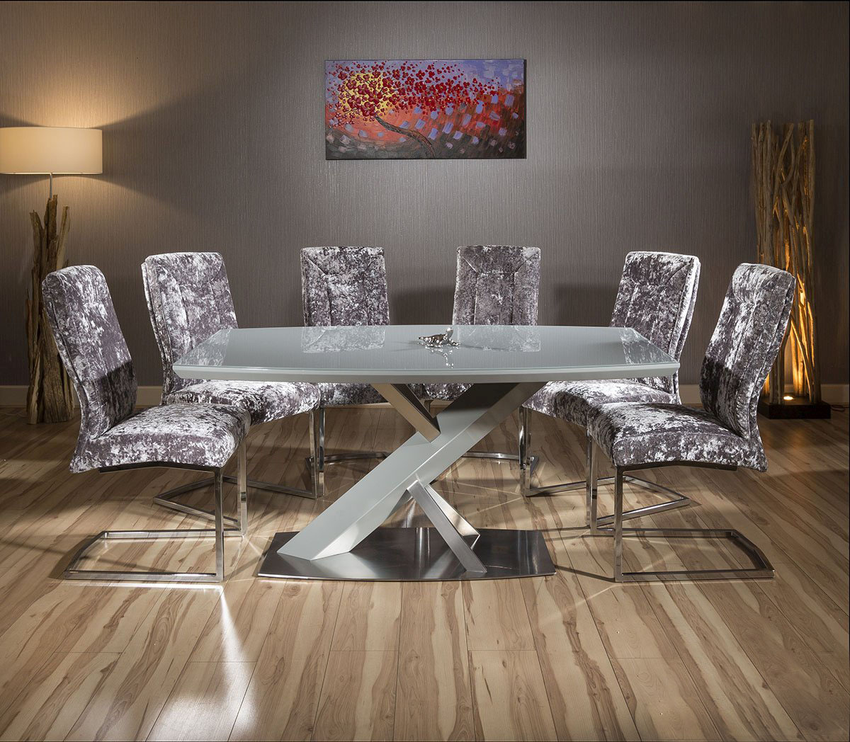 Modern grey glass top dining table set 6 x silver velvet chairs ebay - Silver dining table and chairs ...
