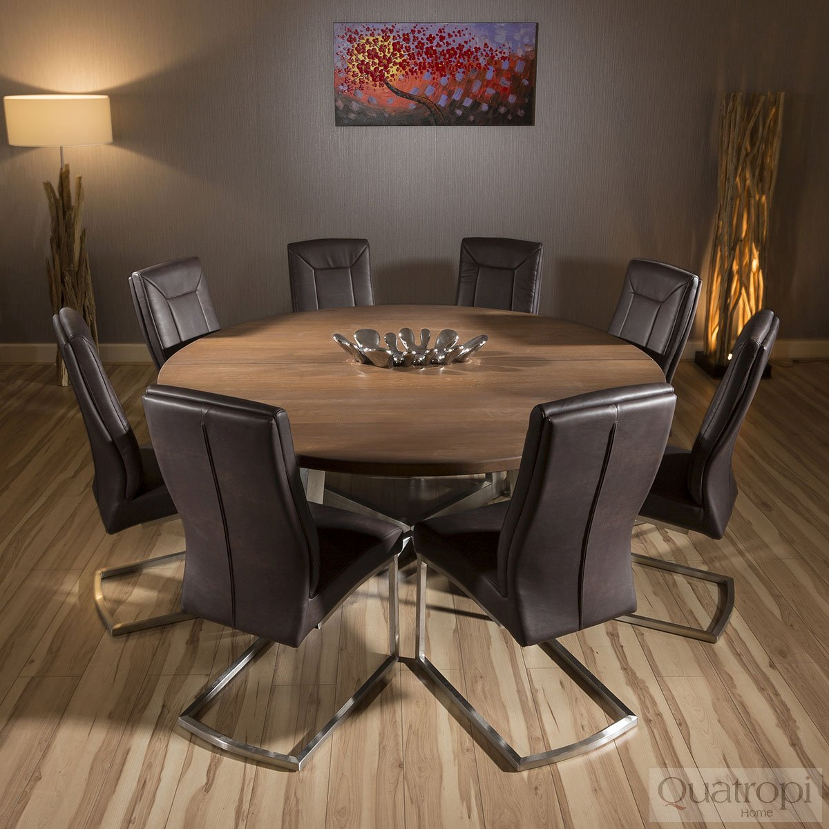 Large Round 1.8mtr Dark Brown Oak Dining Table + 8 Comfy