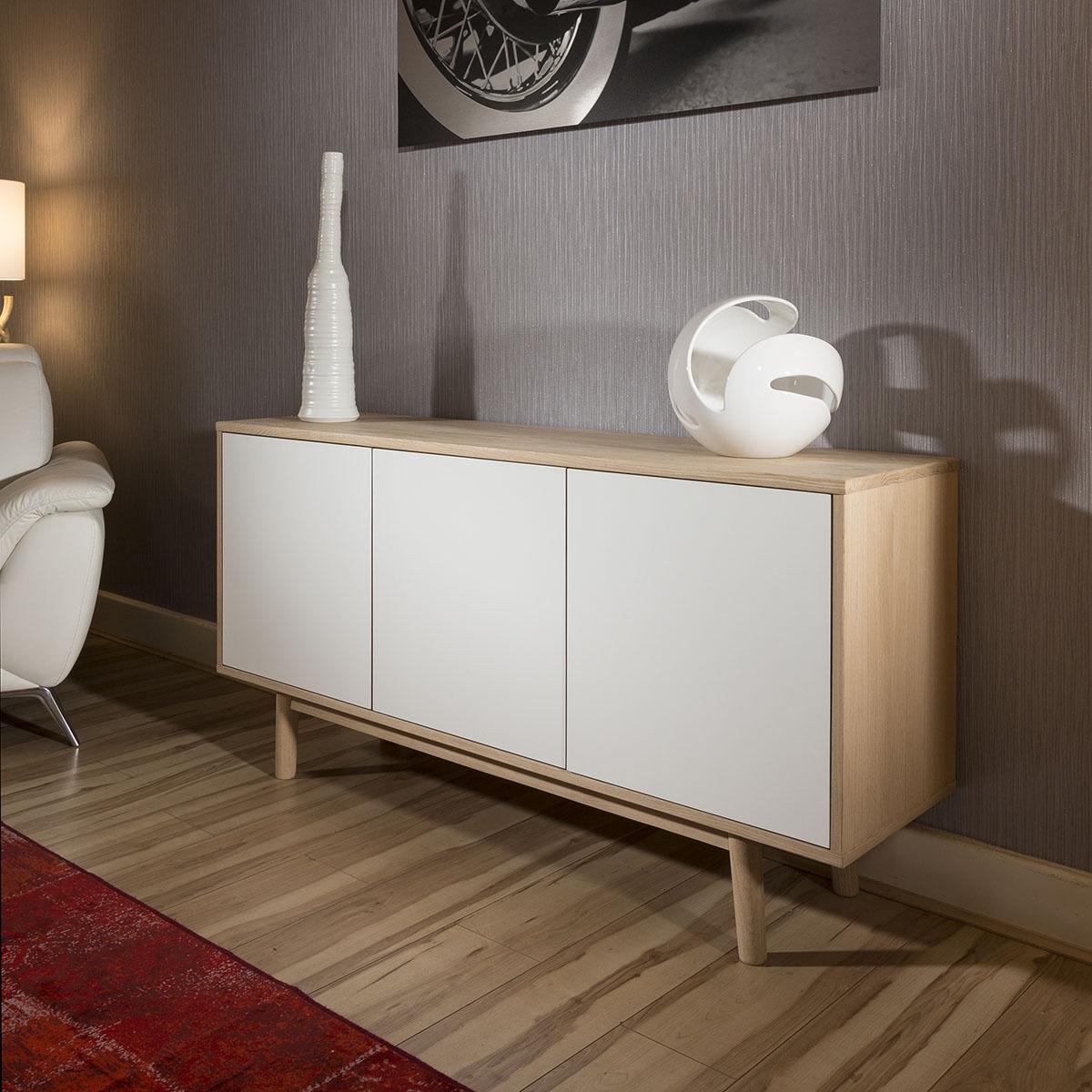 Quatropi Mordern Sideboard Cabinet Buffet In Oak And White Laminate Ebay