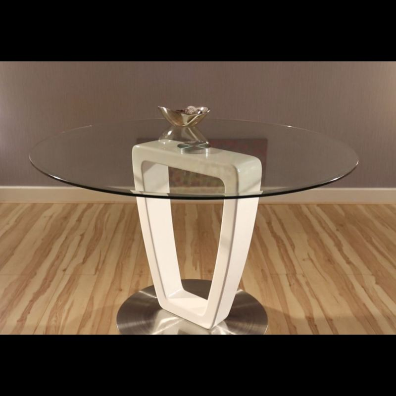 Modern Round Clear Glass Dining Table Stainless