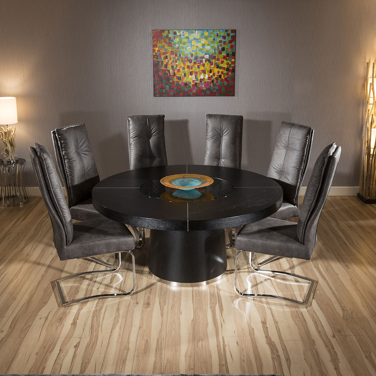 Large Round Black Oak Dining Table 6 Extra Large Comfy