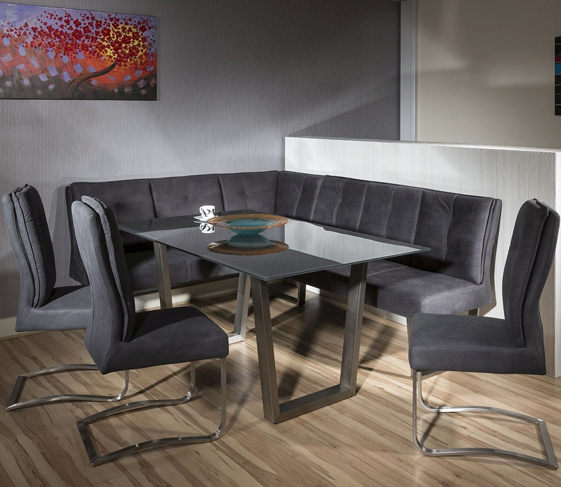 Luxury 8 Seater Grey Suede Corner L Bench Chair Glass Top Dining Set 6 Ebay