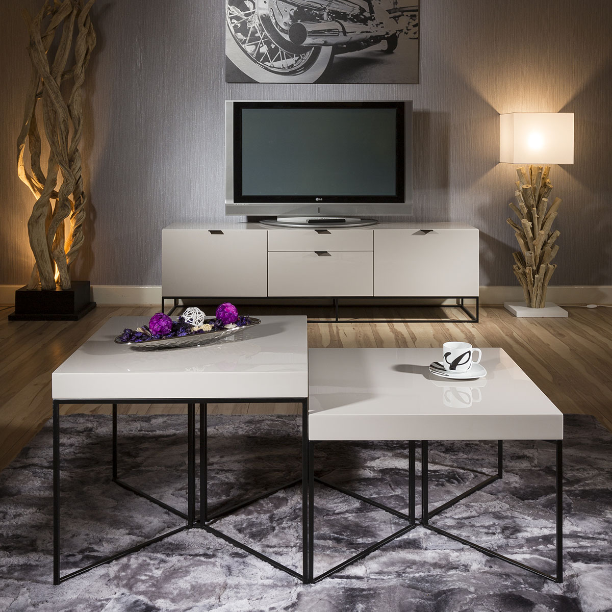 Quatropi Modern Square Coffee Table Combination Grey High