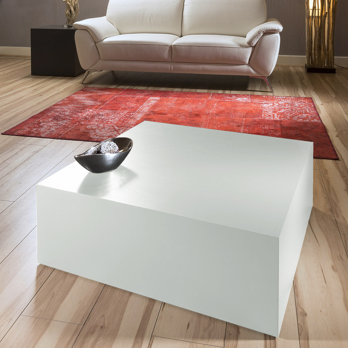 Luxury Modern Low 80x80cm Square Coffee Table Silver Grey