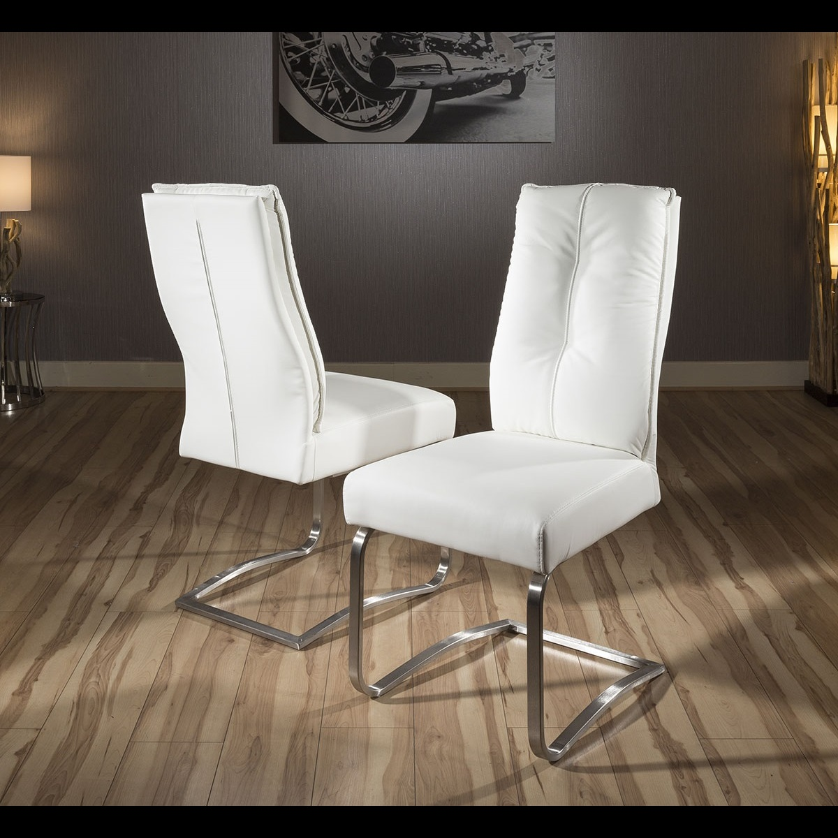 Set of 2 large padded super comfy modern dining chairs for Modern comfy chairs