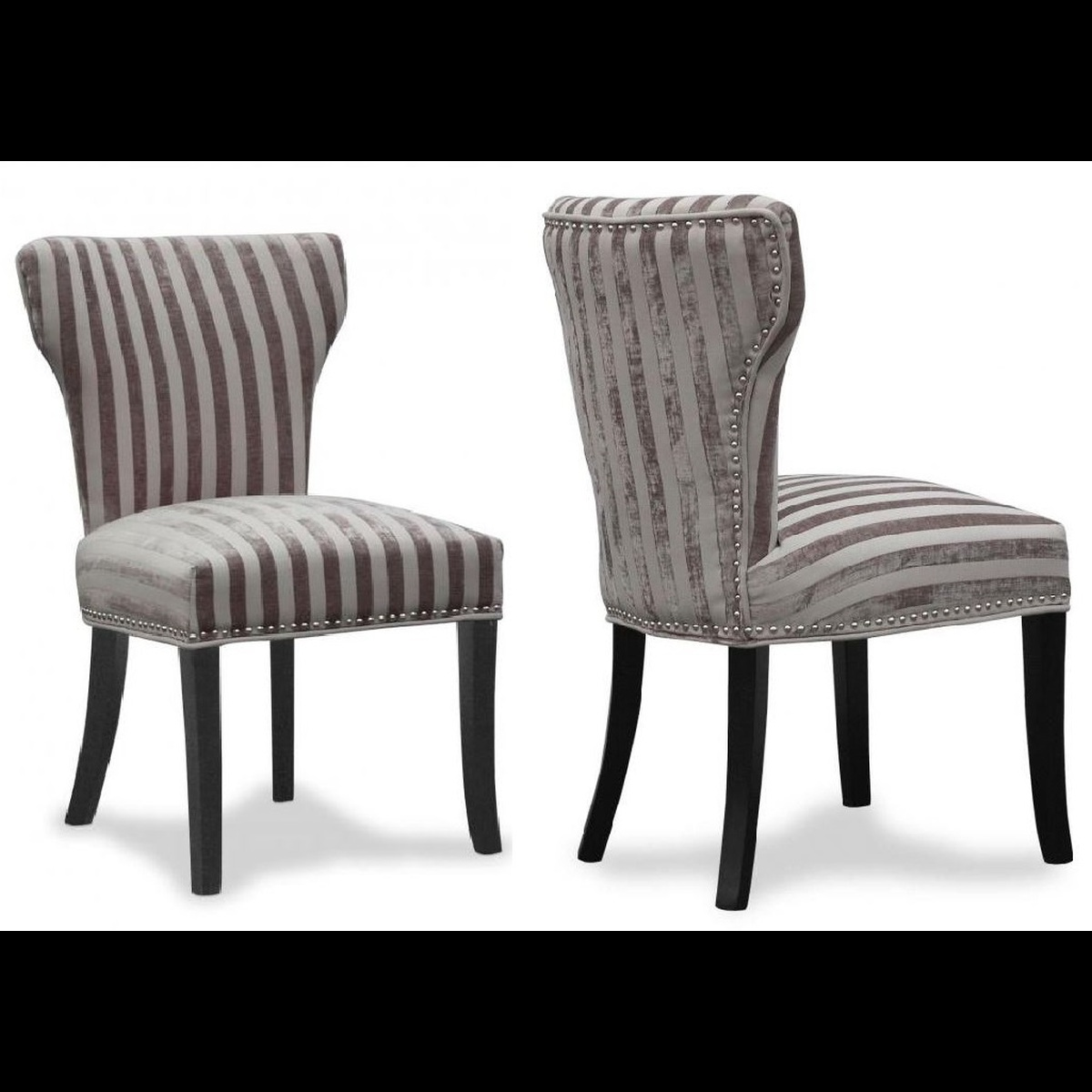 Luxury set of 2 wing back fabric dining chairs mink for Wing back dining chairs
