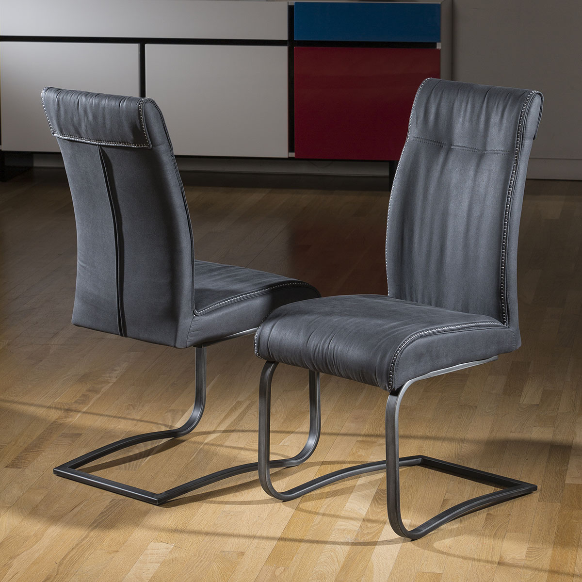 Pair of 2 extra large super comfy padded dining chair grey for Grey comfy chair