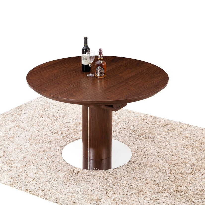 Modern Dining Table Walnut Veneer Round Oval Extending 1 2 EBay
