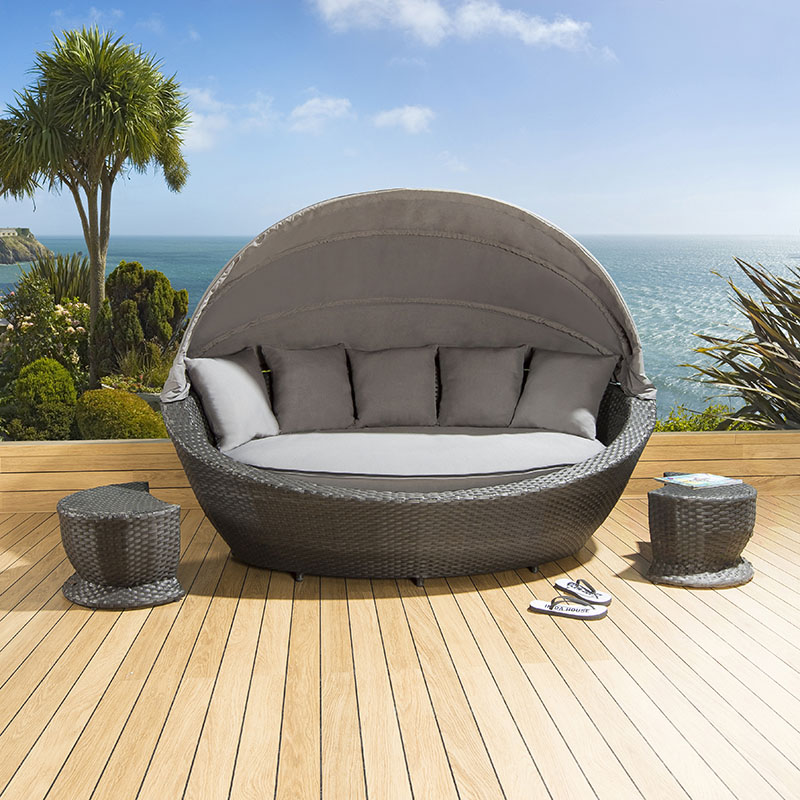 Rattan Daybed Canopy : Luxury oval garden daybed black rattan grey cushions