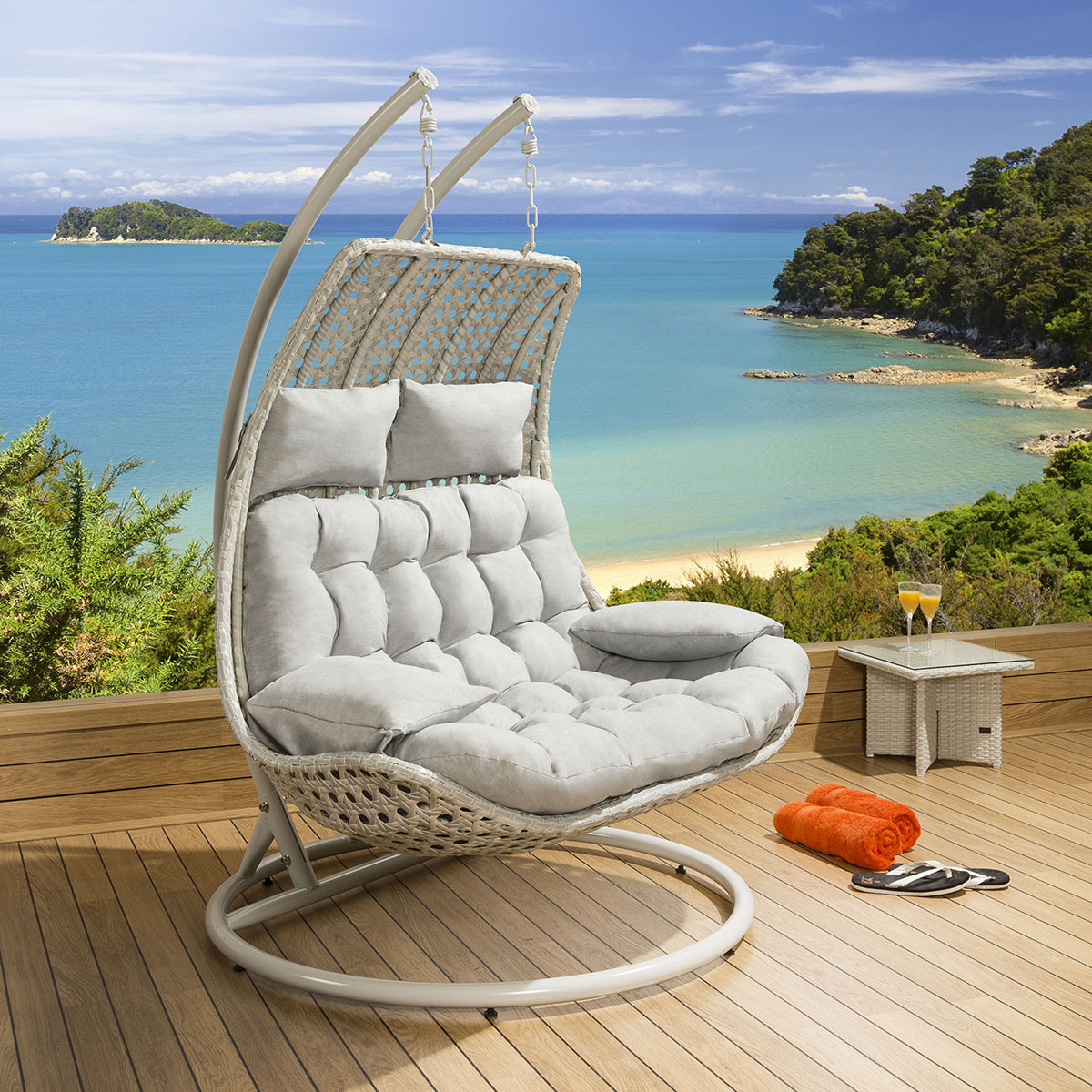 Outdoor Rattan 2 Person Garden Hanging Chair Sunbed