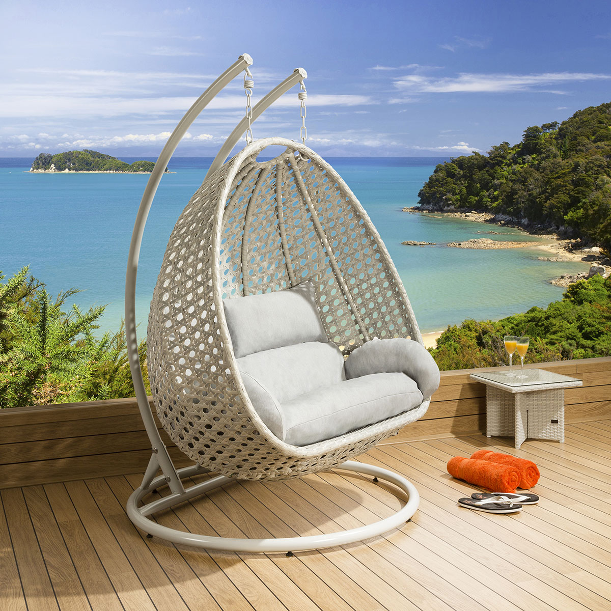 Luxury Outdoor 2 Person Garden Pod Hanging Chair Swing