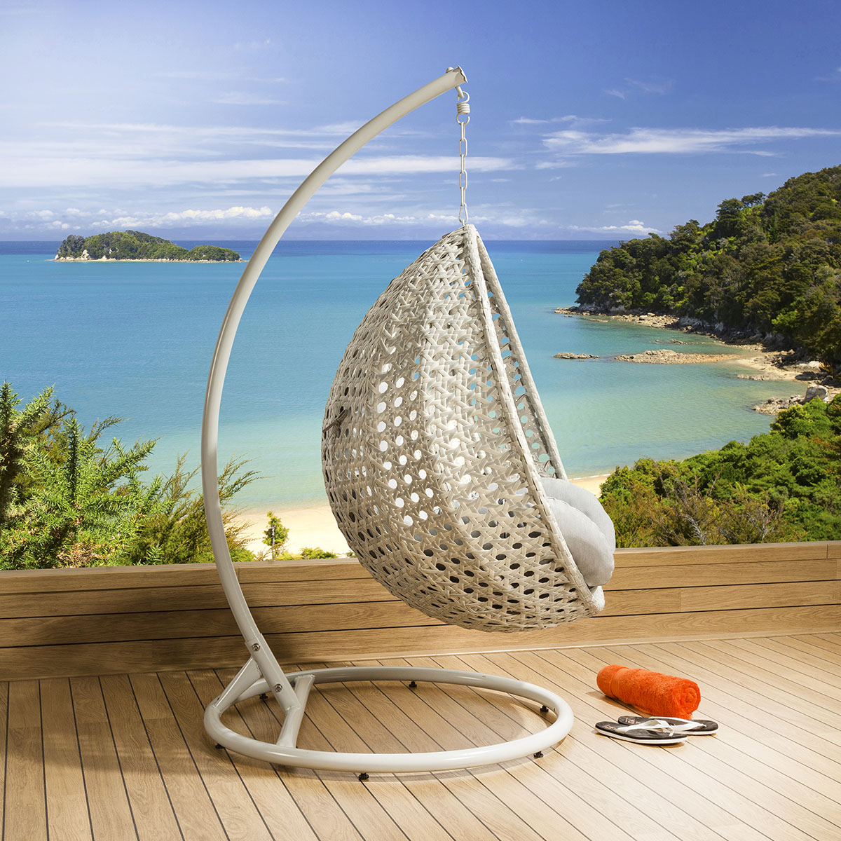 Luxury Outdoor Garden Suspended Egg Pod Cocoon Chair Stone ...