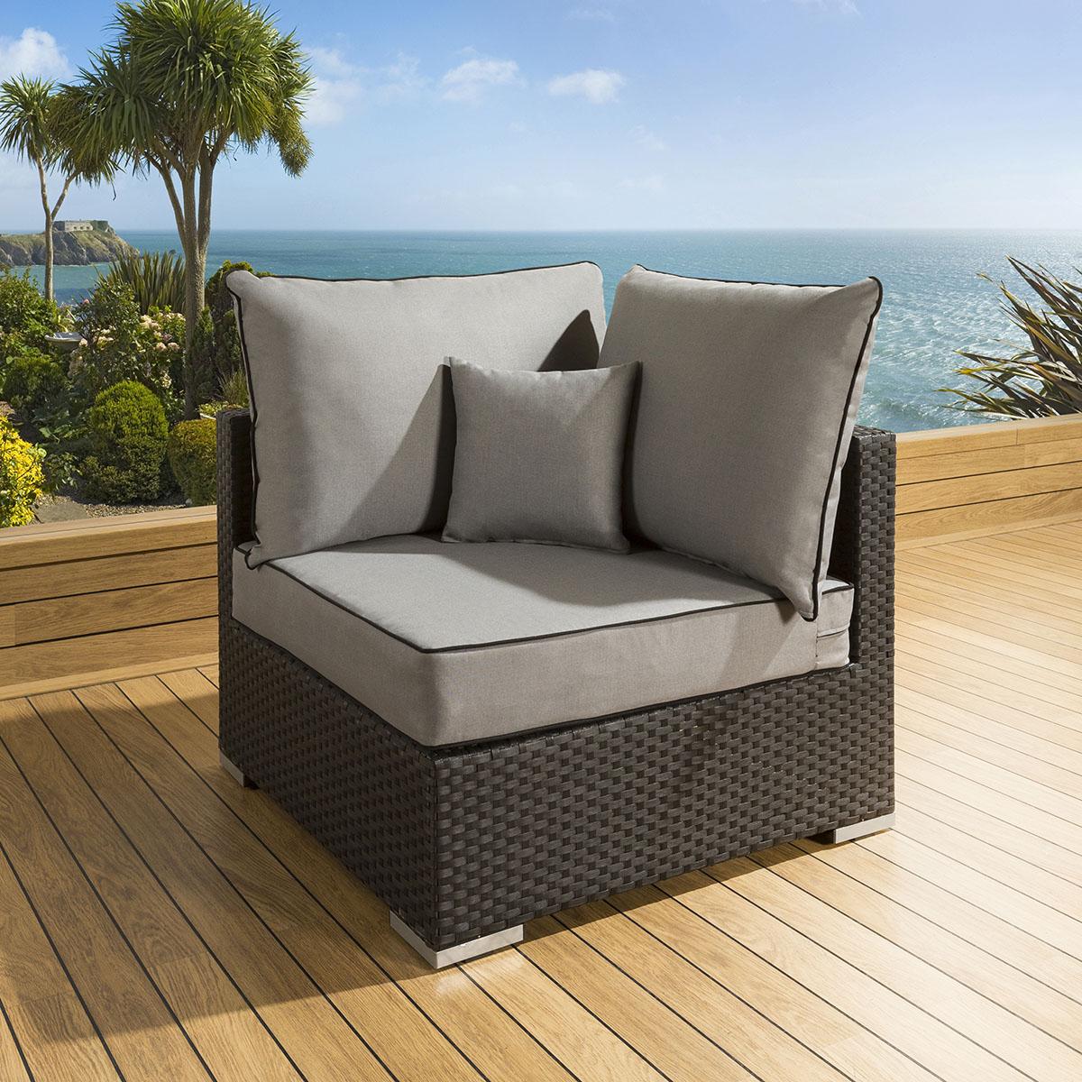 Rattan Furniture Corner Sofa Ebay: Luxury Outdoor Garden Sofa Piece Rattan Black / Grey