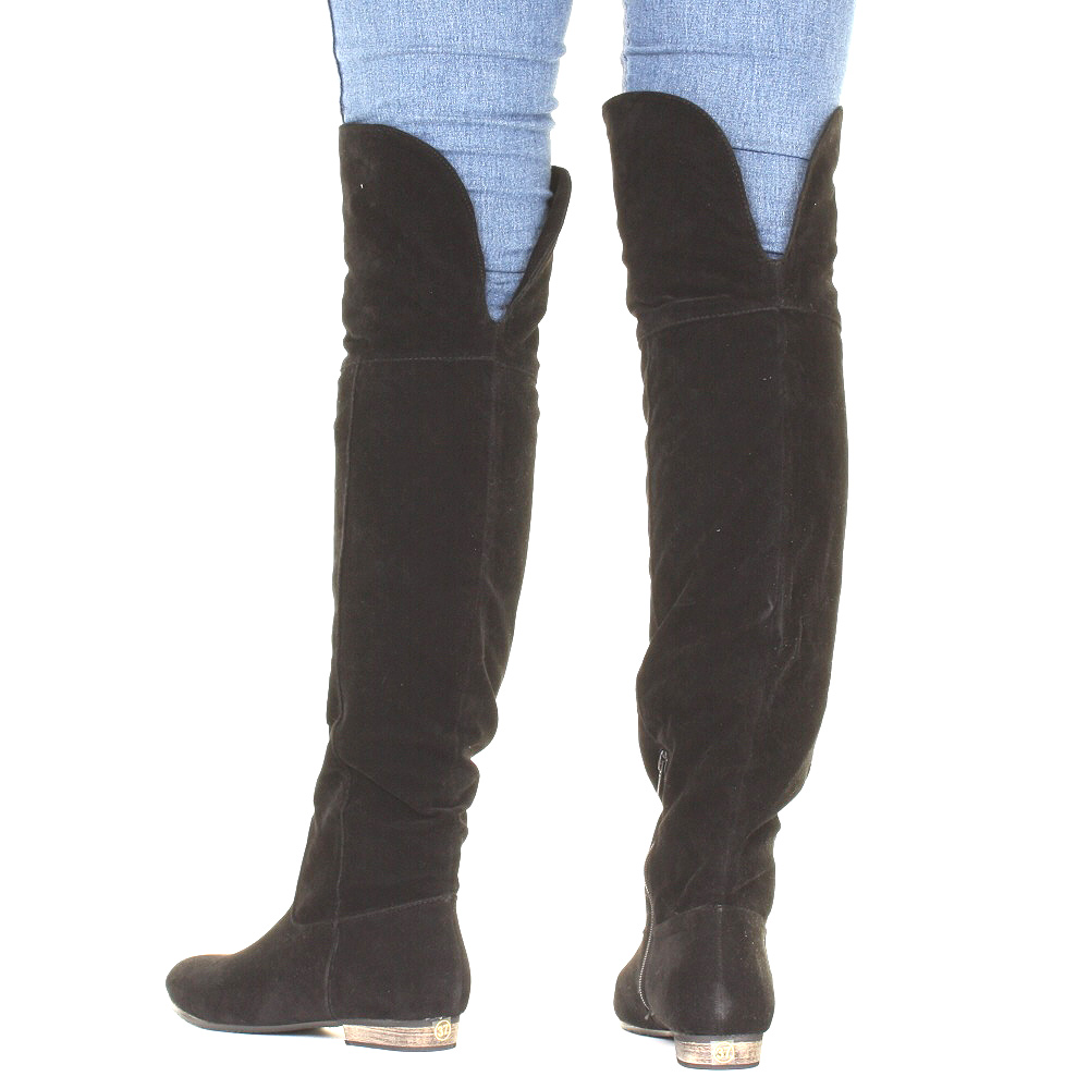 Black Suede Over The Knee Flat Boots - Cr Boot